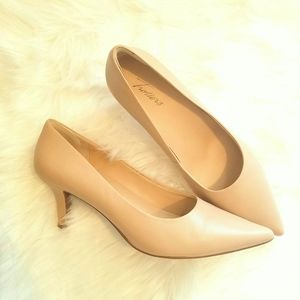 Trotters Leather Upper Padded Nude Pumps